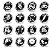Food and kitchen icon set. Food and kitchen web icons for user interface design Stock Photo