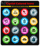 Food and kitchen icon set. Food and kitchen web icons for user interface design Royalty Free Stock Photos