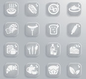 Food and kitchen icon set. Food and kitchen web icons for user interface design Stock Images