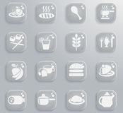 Food and kitchen icon set. Food and kitchen web icons for user interface design Royalty Free Stock Image