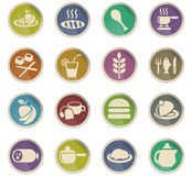 Food and kitchen icon set. Food and kitchen web icons for user interface design Royalty Free Stock Photography