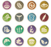 Food and kitchen icon set Stock Images