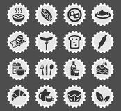 Food and kitchen icon set. Food and kitchen web icons for user interface design Royalty Free Stock Photo