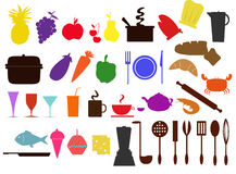 Food and kitchen icons Stock Images