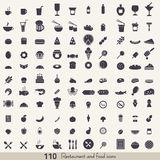 Food and kitchen icons. Big set of food and kitchen icons for mobile, web and applications Royalty Free Stock Photos