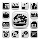 Food and kitchen icons Stock Image