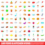 100 food and kitchen icons set, cartoon style Stock Photography