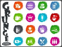 Food and kitchen icons set in grunge style Royalty Free Stock Photo