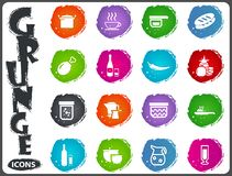 Food and kitchen icons set in grunge style. Food and kitchen symbol for web icons in grunge style Stock Image