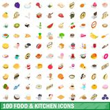 100 food and kitchen icons set, isometric 3d style. 100 food and kitchen icons set in isometric 3d style for any design illustration vector illustration