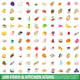 100 food and kitchen icons set, isometric 3d style Stock Photo