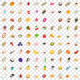 100 food and kitchen icons set, isometric 3d style Royalty Free Stock Photography