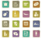 Food and kitchen icons set. Food and kitchen symbol for web icons Royalty Free Stock Photos