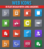 Food and kitchen icons set. Food and kitchen web icons in flat design with long shadows Stock Image