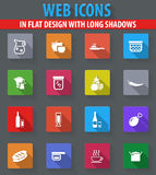 Food and kitchen icons set. Food and kitchen web icons in flat design with long shadows Royalty Free Stock Photography