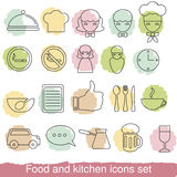 Food and kitchen line icons. Royalty Free Stock Photography