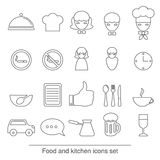Food and kitchen line icons. Royalty Free Stock Images