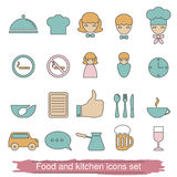 Food and kitchen line icons. Stock Images