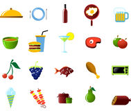 Food and Kitchen objects. Food and Kitchen icon set Stock Photos
