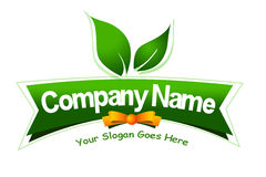 Food Label Logo. An illustration of a logo representing a food label logo with leaves and butterfly bow Stock Photography