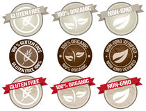 Food label. Set of stamps icon design for products organic, gluten free and natural. Text is outlined stock illustration