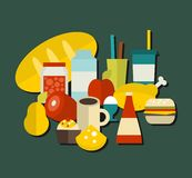 Food label. Vector illustration. Food label with many retro objects Stock Photography
