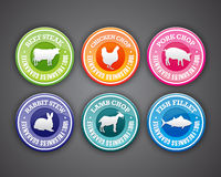 Food Labels. Set of freshness and quality guaranteed stamps with animal silhouettes Stock Images