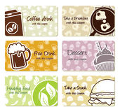 Food labels and coupons Stock Images