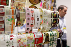 Food labels in the exhibition PeterFood. St. Petersburg, Russia - November 18, 2015: Food labels in the International food exhibition PeterFood. The exhibition Royalty Free Stock Photo