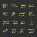 Food labels set. Sugar Free, Gluten Free and Natural badges. Eco 100 bio, vegan food menu organic farm fresh labels Royalty Free Stock Image