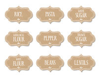 Food Labels - Stickers. Cardboard food labels or stickers. Can be used to mark kitchen food containers Stock Image