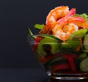 Food. Langoustines salad, black background. Beautiful appetizer langoustines salad, decorated vegetables cucumber and rukola.  Black background. Close up. Fried Royalty Free Stock Images
