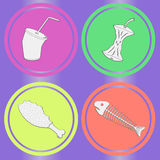 Food leavings grunge seamless. Food leavings (fish, apple, chicken, drink) on purple background Stock Photography