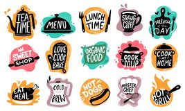 Food lettering. Bakery kitchen sweets, hot dogs badge and organic food logo vector set royalty free illustration