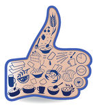 Food like social networks thumb up hand sign button Stock Photos