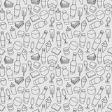 Food line icon seamless pattern. Modern vector. Gray food line icon seamless pattern. Modern vector background royalty free illustration