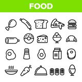 Food Line Icon Set Vector. Home Kitchen Breakfast Food Icons. Menu Pictogram. Fesh Eating Element. Thin Outline Web stock illustration