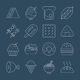 Food line icon set Royalty Free Stock Photography