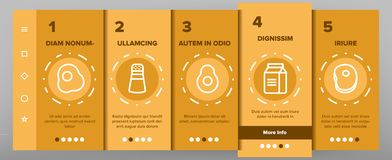 Food Line Icon Set Vector Onboarding. Food Line Icon Set Vector. Onboarding Mobile App Page Screen Home Kitchen Breakfast Food Icons. Menu Pictogram. Fesh Eating royalty free illustration