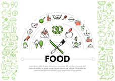 Food Line Icons Composition Royalty Free Stock Photography
