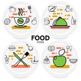 Food Line Icons Concept. With coffee beer wine fish chicken apple soda burger sausage pretzel cake kitchen utensil isolated vector illustration Stock Images