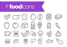 Food line icons Stock Photography