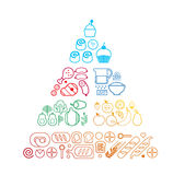 Food line pyramid. Food pyramid healthy eating infographic made of food line icons. Recommendations of a healthy lifestyle. Icons of products. Vector vector illustration