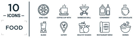 Free Food Linear Icon Set. Includes Thin Line King Cake, Barbecue Grill, Hot Chocolate, Eatery, Restaurant Menu, Worms, Blend Icons For Royalty Free Stock Image - 207078326