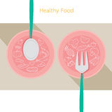 Food linear icons set on dish with spoon and fork Royalty Free Stock Image
