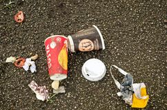 Food litter from above stock photo