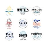 Food logo design set, muffin, waffles, burger, cake, hotdog, pancakes, donut, chiken, ice crem emblems for cafe. Restaurant, cooking business, food shop, brand vector illustration