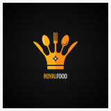 Food Logo . Fork and Knife Crown Background. Stock Photos