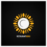 Food Logo. Fork And Knife Label Background. Royalty Free Stock Photos