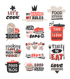 Food logotype restaurant vintage design cooking text phrases badge element label icon and hand drawn stamp retro Stock Photography